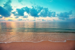 Seascape in summer. Early morning, sunrise over the sea