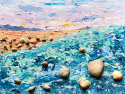 Seascape mix media painting sunset and seashells. Hand drawn landscape