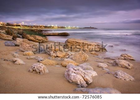 Seascape of the Portuguese coastline in Carcavelos area