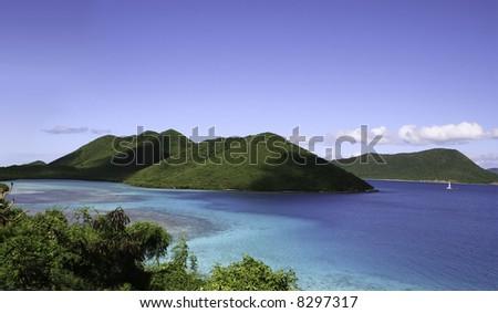 Seascape off St John island in the Caribbean