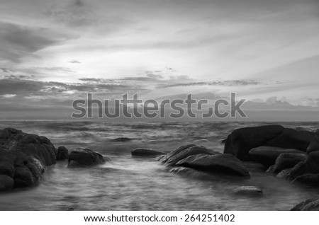 seascape rock and ripple  black and white tone.