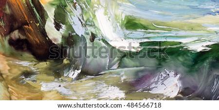 Seascape, sea coast, northern landscape seaside, cold waves, coastal pebbles, algae rocks. Oil on canvas, modern art, watercolor painting, modern contemporary art