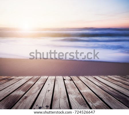 Seascape summer background of ocean beach sunset in bright color #724526647