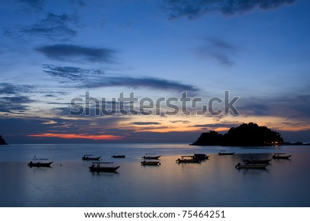 seascape sunset with cloud and blue sky