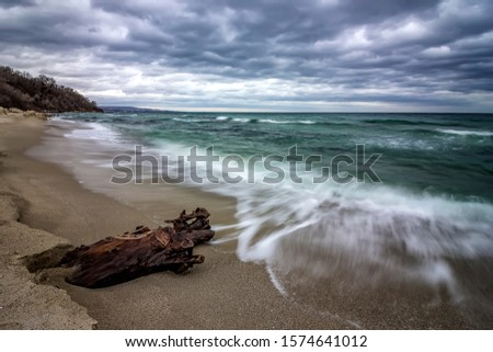 Seascape, Superb long exposure seascape with a log at the Black Sea coast, Bulgaria #1574641012