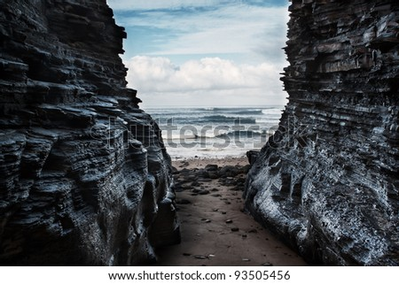 seascape, view from the cave.