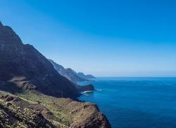 seascape view of cliffs and rocky atlantic coast in the north west of Gran Canaria. Road from Puerto de Las Nieves to Aldea de San Nicolas
