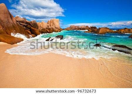 Seascape view with a huge stones, Seychelles, LaDigue island