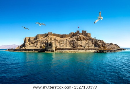 Seascape with ancient Castle of Saladin on the Farun Island in the Gulf of Aqaba and flying seagulls over the Red Sea. Old fortress of Sultan Salah El Din in Taba, travel on Sinai Peninsula. Stock fotó ©