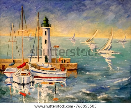 Seascape with boats and lighthouse oil painting on canvas.