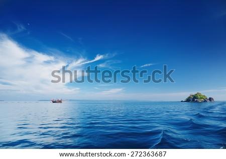 Seascape with calm sea and blue sky, Trat archipelago, Thailand