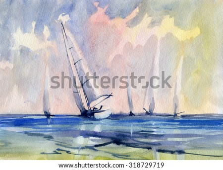Seascape with sailboat. Watercolor.
