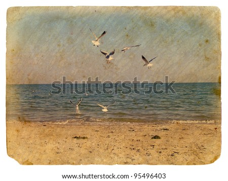 Seascape with seagulls. Old postcard, design in grunge and retro style