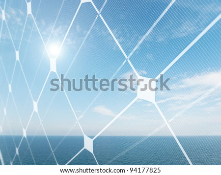 Seascape with shining sun and photovoltaic panel
