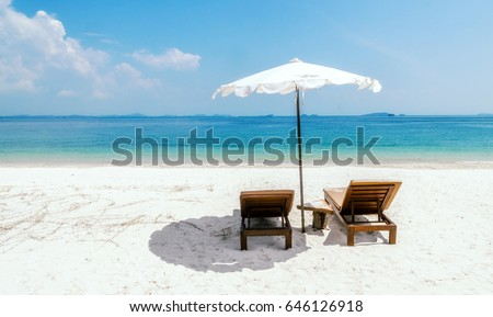 Seascape with two chaise longues, without people