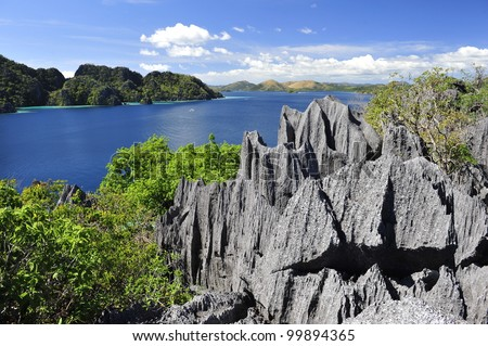 seascape with typical volcanic rocks in the philippines