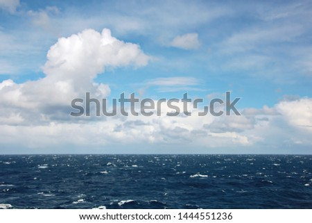 Seascapes. Various kinds of colorful blue sky, sun, clouds and open spaces of the world ocean