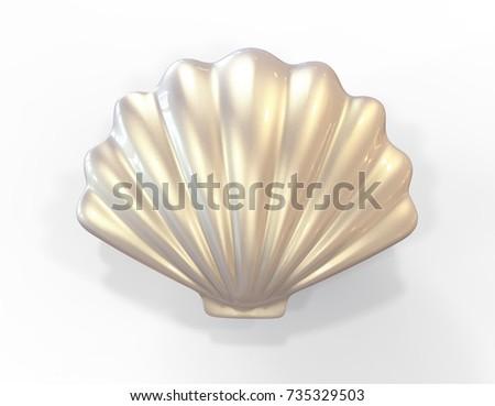 Shutterstock Seashell. 3d illustration isolated on white background