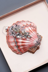 Seashell toy. Decorative shell in gift box, present for christmas or new year