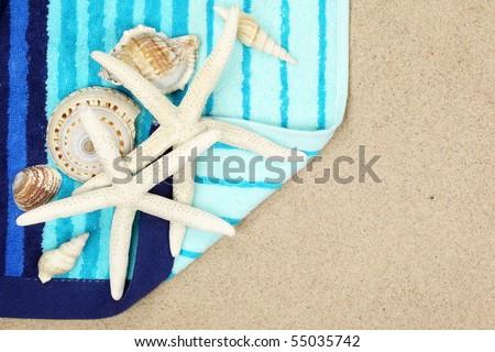 Seashells and striped beach towel on sand beach,Closeup.
