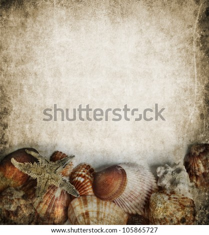 Seashells frame on grungy background