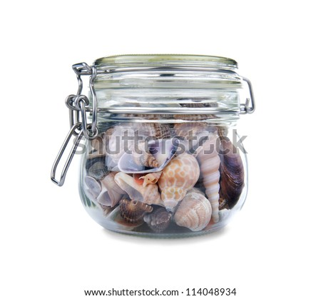Seashells in a jar isolated on white background - stock photo