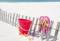 Seashells on beach by toys