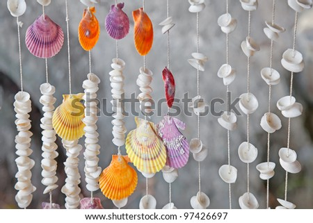 Seashells on thread background on tropical resort