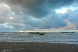 seashore and clouds before a thunderstorm, stormy sea
