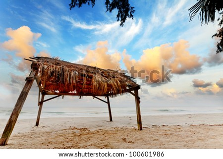 Seashore cloud and blue sky with shed made of leaves