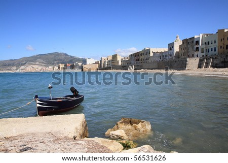 Seashore in Trapani - city in western Sicily. Rainy cloudy weather