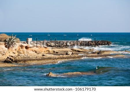Seashore of Hersonissos, touristic place in Crete, Greece