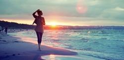 Seashore sunset walk