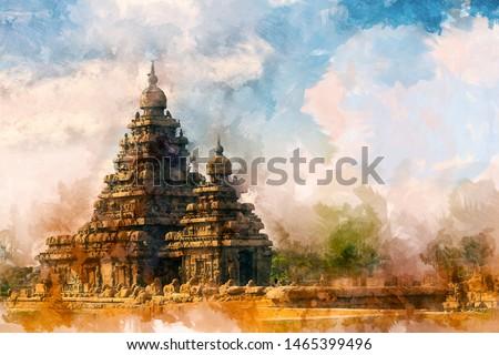 Seashore Temple at Mahabalipuram, Tamil Nadu, India. Zdjęcia stock ©