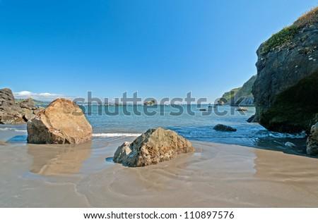 Seashore view of Trinidad Bay in California