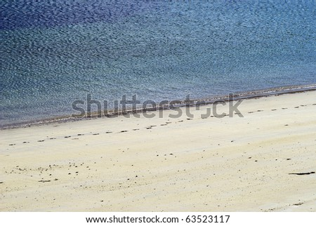 Seashore with blue water and white sand