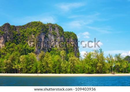 seashore with tall rocks, Andaman Sea, in Thailand