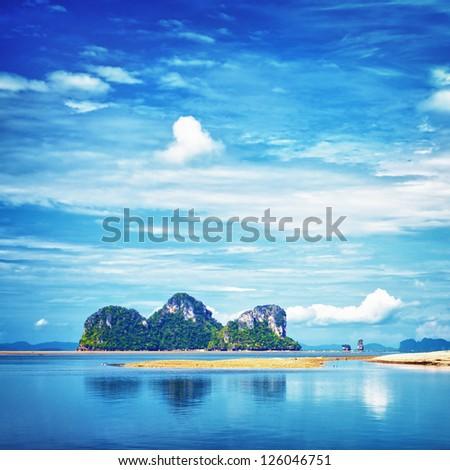 seashore with tall rocks, Andaman Sea, Thailand