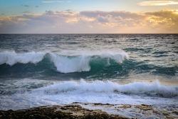 Seaside beach landscape and beautiful coastline with sea waves
