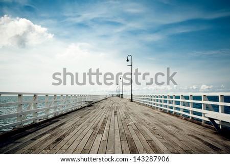 Seaside boardwalk in Brisbane