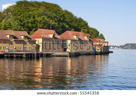 Seaside buildings at the sea