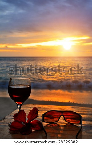 Seaside Exotic Cocktail Scene at Sunset