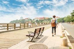 seaside foot path in qingdao