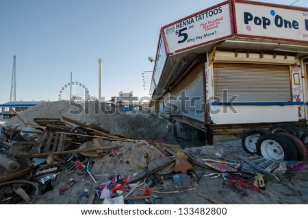 SEASIDE HEIGHTS, NJ/USA - JANUARY 18: The basement of a boardwalk business devastated by hurricane Sandy is cleaned out on January 18, 2013 in Seaside Heights, New Jersey .