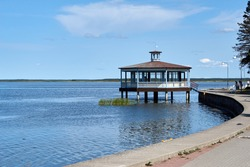 Seaside promenade and resort pavilion in Haapsalu, Estonia. High quality photo