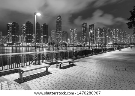 Seaside Promenade and skyline of Harbor in Hong Kong city at night #1470280907
