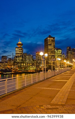Seaside promenade at night in Vancouver, Canada.