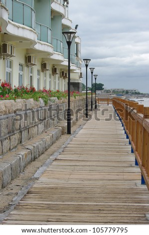 Seaside wooden plank