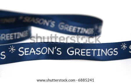 Season's greetings Christmas ribbon.