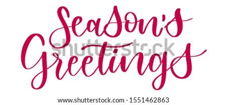 Season's Greetings Hand Lettering Greeting Card. Modern Calligraphy. Handwritten Christmas Decor
